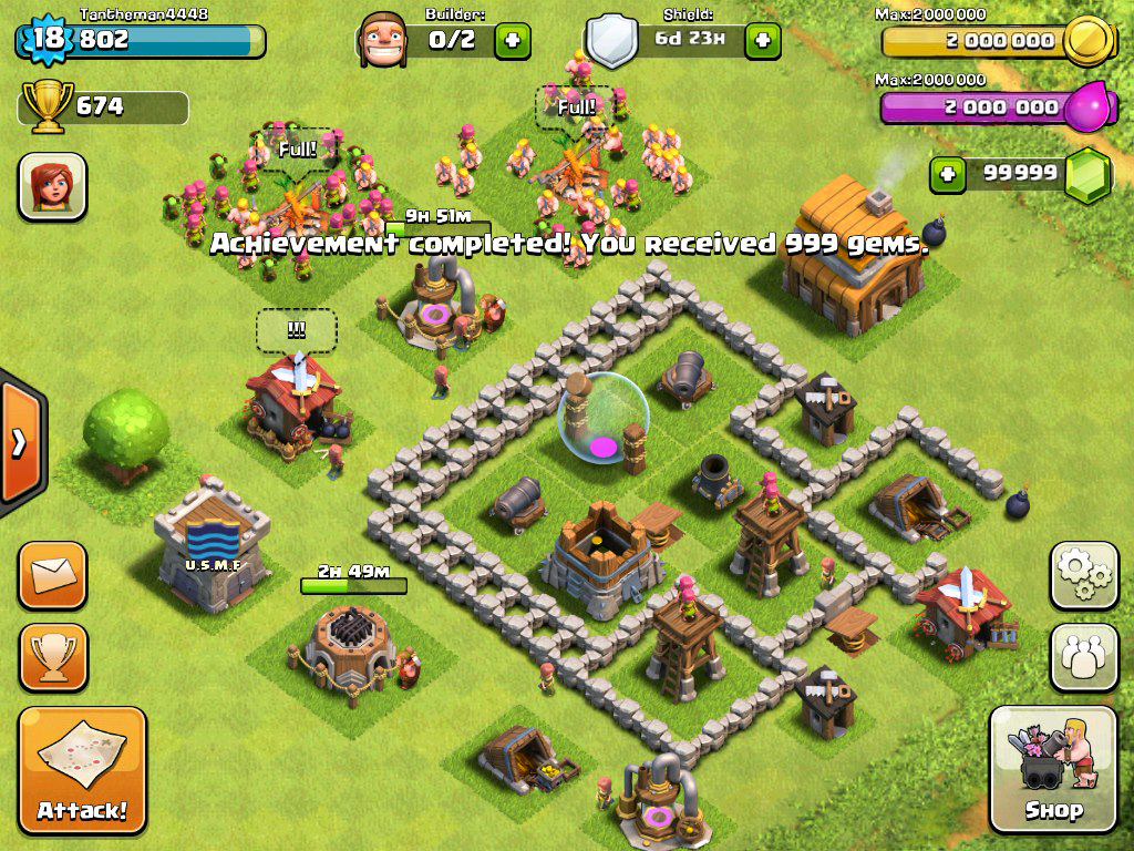 capture écran jeu clash of clans
