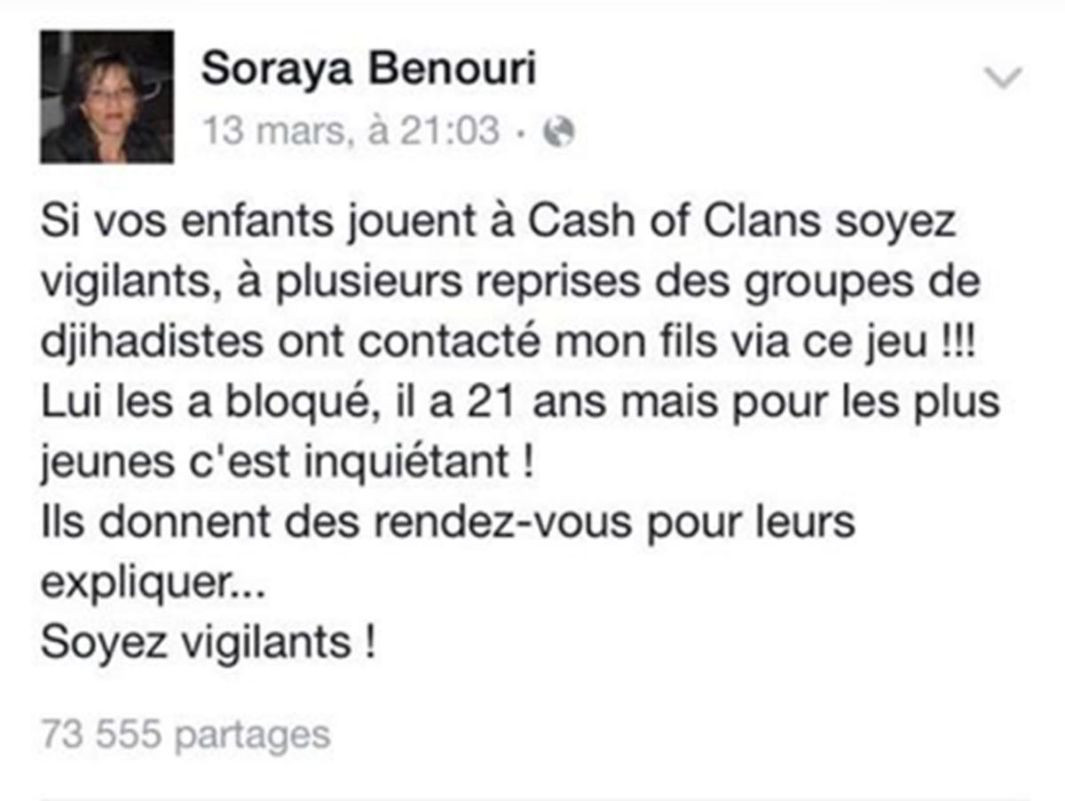message FB mère famille alterte djihadistes Clash of Clan